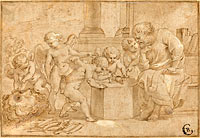 Elderly Man Watching Putti Dissect an Eye