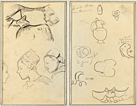 Four Studies of Breton Women; Shapes and Vases (verso)