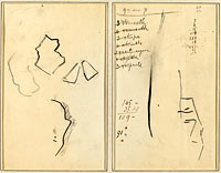 A Profile and Four Shapes; Sketch of a Man's Head (recto)