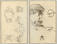 Studies of Jugs and Vases; A Man with Moustache and a Boy with a Hat (recto)