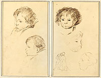 Five Studies of Heads; A Boy in Profile with Studies of Hands and Feet (verso)