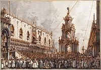 "The ""Giovedì Grasso"" Festival before the Ducal Palace in Venice"