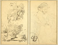 Trees; Sketch of Breton Boy (verso)