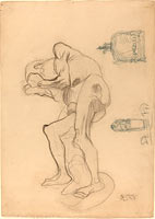 Густав Климт: Study of a Nude Old Woman Clenching Her Fists, and Two Decorative Objects