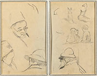 Three Studies of Men's Heads, One with Spectacles; Dogs, Children, and Two Bearded Men in Profile (verso)