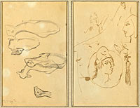 Five Sheep; Four Head Studies (verso)