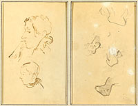 Two Heads; Studies of Sheep (recto)