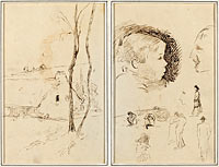 Landscape with a Cottage; Profile of Boy, Profile of Man, Two Women in a Landscape, and Five Other Studies
