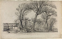 Landscape with Trees, Cottage, and Farm Wagon
