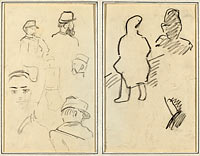 Five Studies of Soldiers and a Woman's Face; Two Figures (recto)