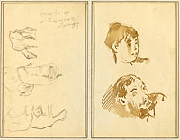 Five Sheep; Head of a Woman and Head of a Bearded Man (recto)