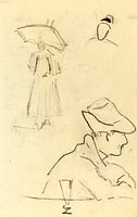 A Person Holding an Umbrella and a Seated Man with a Hat and a Glass (verso)
