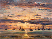 Хендрик Виллем Месдаг: Sunset at Scheveningen: A Fleet of Fishing Vessels at Anchor