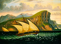 Thomas Chambers: Felucca off Gibraltar, mid 19th century