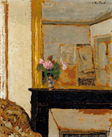Vase of Flowers on a Mantelpiece