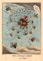 Томас Роуландсон: The Corsican Spider in his Web, published 1808