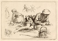 Figure Studies including Reclining Boy, published 1735