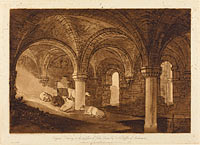 Crypt of Kirkstall Abbey, published 1812