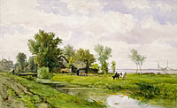 Виллем Роелофс (I): Farmhouse by a Ditch, Willem Roelofs (I)