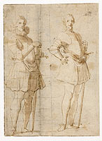 Twee studies van een staande officier, possibly Peter Paul Rubens