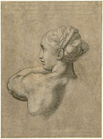 Study of a Head and Left Shoulder of a Woman, Rafaël
