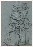 Standing Couple seen from the side, Esaias van de Velde