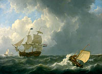 Johannes Christiaan Schotel: Ships on a Stormy Sea