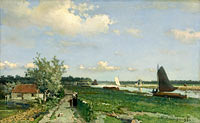 Jan Hendrik Weissenbruch: The Trekvliet Shipping Canal near Rijswijk, known as the 'View near the Geest Bridge'