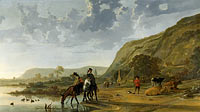 Aelbert Cuyp: River Landscape with Riders