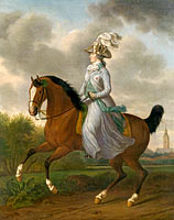 Tethart Philip Christian Haag: Equestrian Portrait of Wilhelmina of Prussia, Consort of Prince William V (Frederika Sophia Wilhelmina)