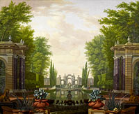 Isaac de Moucheron: Water Terrace with Statues and Fountains in a Park