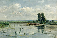 Willem Roelofs (I): Lake near Loosdrecht