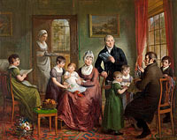 Adriaan de Lelie: Portrait of the Family of Adriaan Bonebakker with Dirk L. Bennewitz