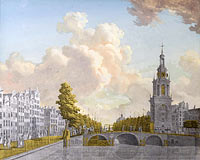 Йонас Зеунер: View of the Tower called Jan Roodenpoortstoren and the Singel Canal in Amsterdam