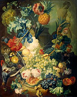 Still Life with Flowers, Fruit and Birds