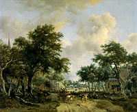 Wooded Landscape with Merrymakers in a Cart