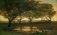 Альберт Жерар Билдерс: Woodland Pond at Sunset