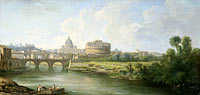 Caspar van Wittel, Pierre Antoine Demachy: View of the Castel Sant'Angelo in Rome