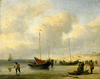 Fishing Boats on Shore (The Shore, Unloading a Fishing Smack)