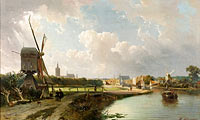 Cornelis Springer, Kasparus Karsen: View of The Hague from the Canal called the Delftsche Vaart in the 17th Century