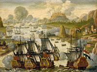 Неизвестный художник: Naval Battle of Vigo Bay, 23 October 1702. Episode from the War of the Spanish Succession