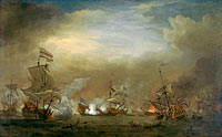 "Nocturnal Sea Battle between Cornelis Tromp on the ""Gouden Leeuw"" and Sir Edward Spragg on the ""Royal Prince"" during the Battle at Kijkduin (Battle of Texel), 21 August 1673: episode from the Third Anglo-Dutch War"