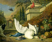 A Dog with a dead Goose and Peacock (A Study of Game and Fruit)