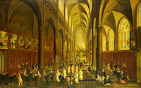 The interior of the Dominican church in Antwerp