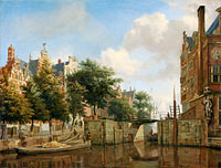 Jan van der Heyden: Amsterdam City View with Houses on the Herengracht and the old Haarlemmersluis