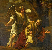 Biblical Scene, perhaps the Prophet Elijah Visited by an Angel