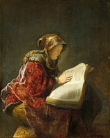 An Old Woman Reading, Probably the Prophetess Hannah, An old woman, probably Rembrandt's mother, Neeltgen Willemsdr van Zuydtbroeck (d 1640), apparently in the guise of the prophetess Anna