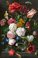 Jan Davidsz. de Heem, Rachel Ruysch: Still Life with Flowers in a Glass Vase