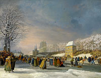 Nicolaas Baur: Women's Skating Competition on the Stadsgracht in Leeuwarden, 21 January 1809