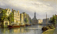 Eduard Alexander Hilverdink: The Singel, Amsterdam, looking towards the Mint.